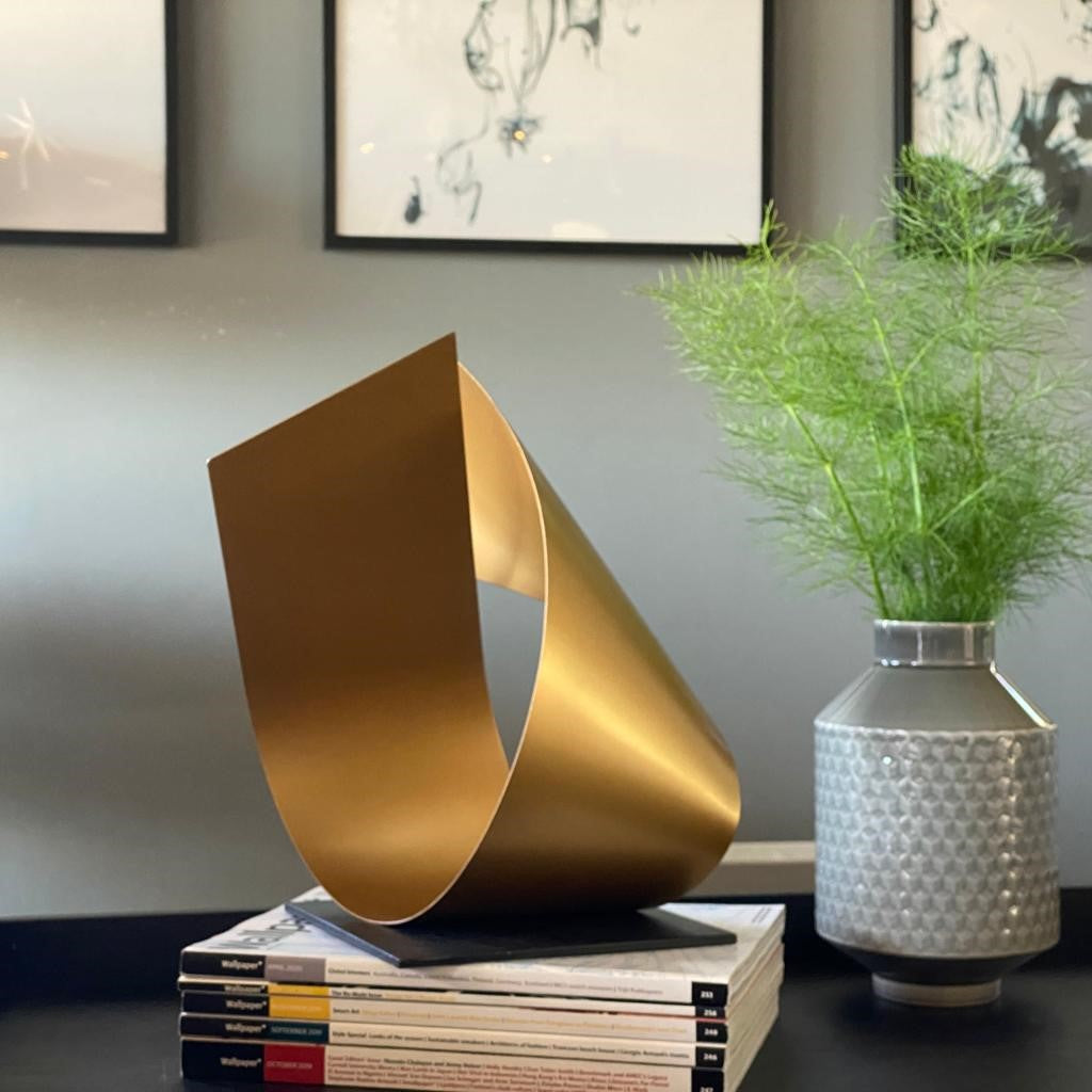 Modern contemporary gold sculpture. Designed and handcrafted in the UK.
