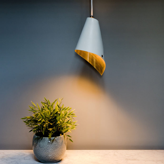 Pendant light in white & gold, pendant lighting.. Modern pendant lighting. Designed and handcrafted in the UK