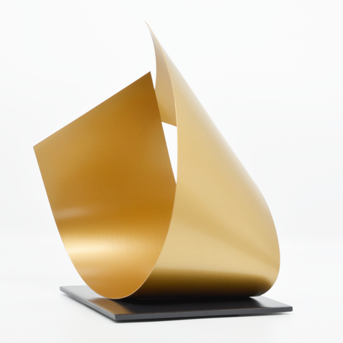 Handcrafted sculpture in gold, modern, contemporary, designer interiors.