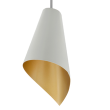 Load image into Gallery viewer, pendant lighting in white and gold close up contemporary lighting
