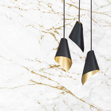 Load image into Gallery viewer, triple pendant in gold and black pendant cluster