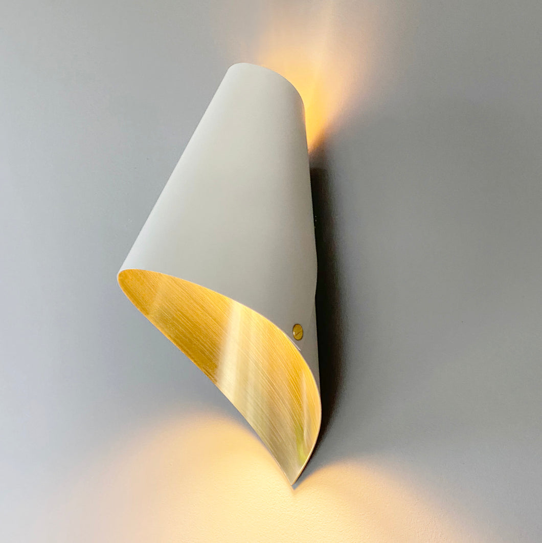 wall light in brushed brass and white modern wall lights