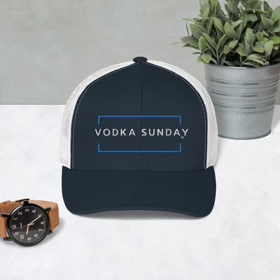 Black and White Trucker Cap - Vodka Sunday Hats