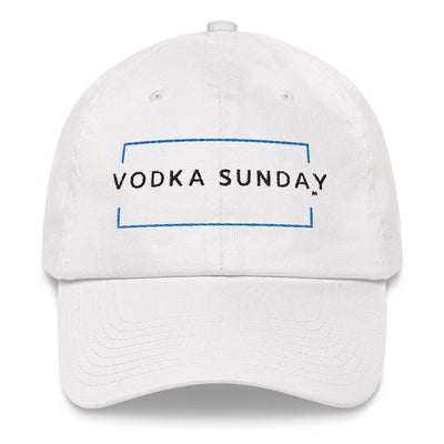 Adjustable Vodka Sunday White Dad hat - Vodka Sunday