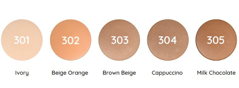 Certified natural, organic vegan compact powder colours