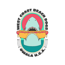 Load image into Gallery viewer, shark eating a hot dog sticker