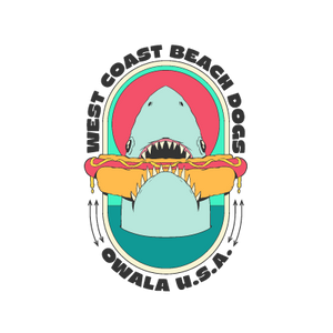 shark eating a hot dog sticker