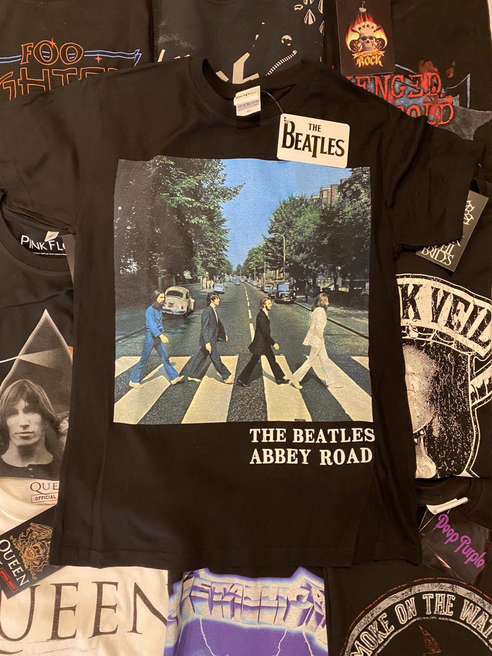 THE BEATLES UNISEX TEE: ABBEY ROAD & LOGO