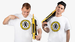 Two male models with Bug-A-Salt t-shirts and salt guns