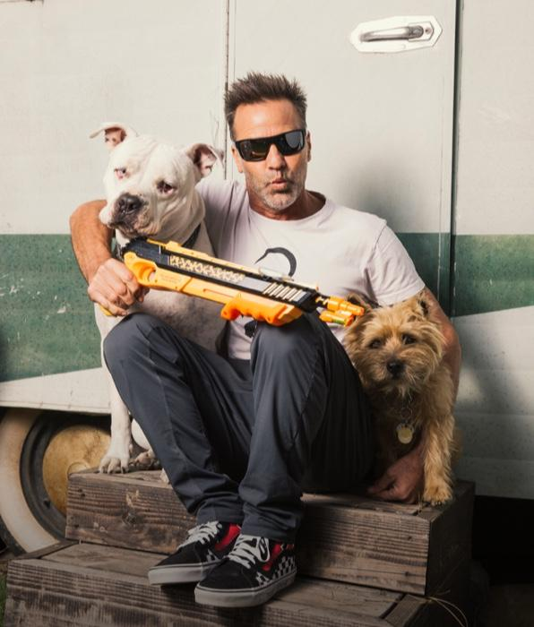 Lorenzo Maggiore inventor of the Bug-A-Salt gun and his two dogs