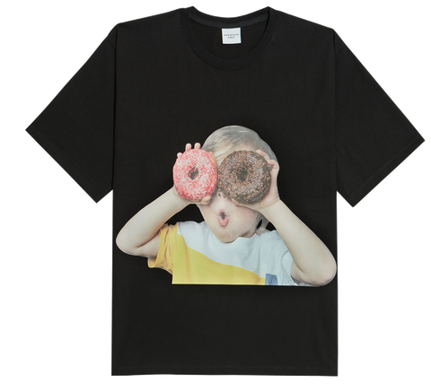 ADLV BABY FACE SHORT SLEEVE T-SHIRT BLACK DONUTS