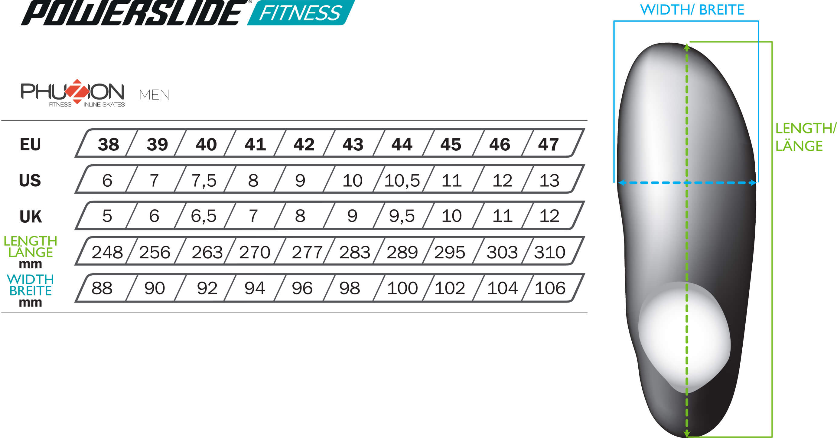 Fitness Skate size chart