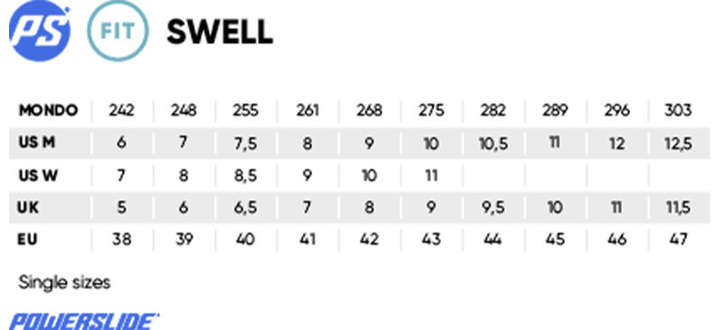 Powerslide Swell Fitness Sizing Chart