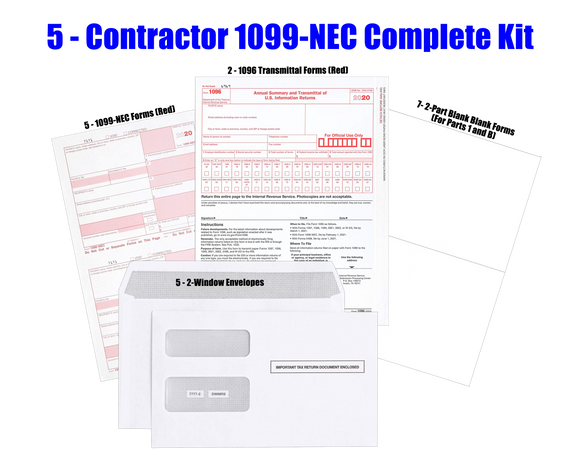 Complete 2020 Laser/Inkjet Year-End Kit for 5 1099 Employees