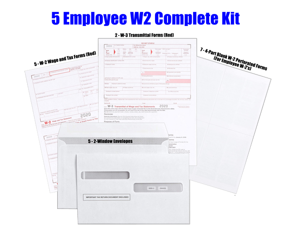 Complete 2020 Laser/Inkjet Year-End Kit for 5 W-2 Employees