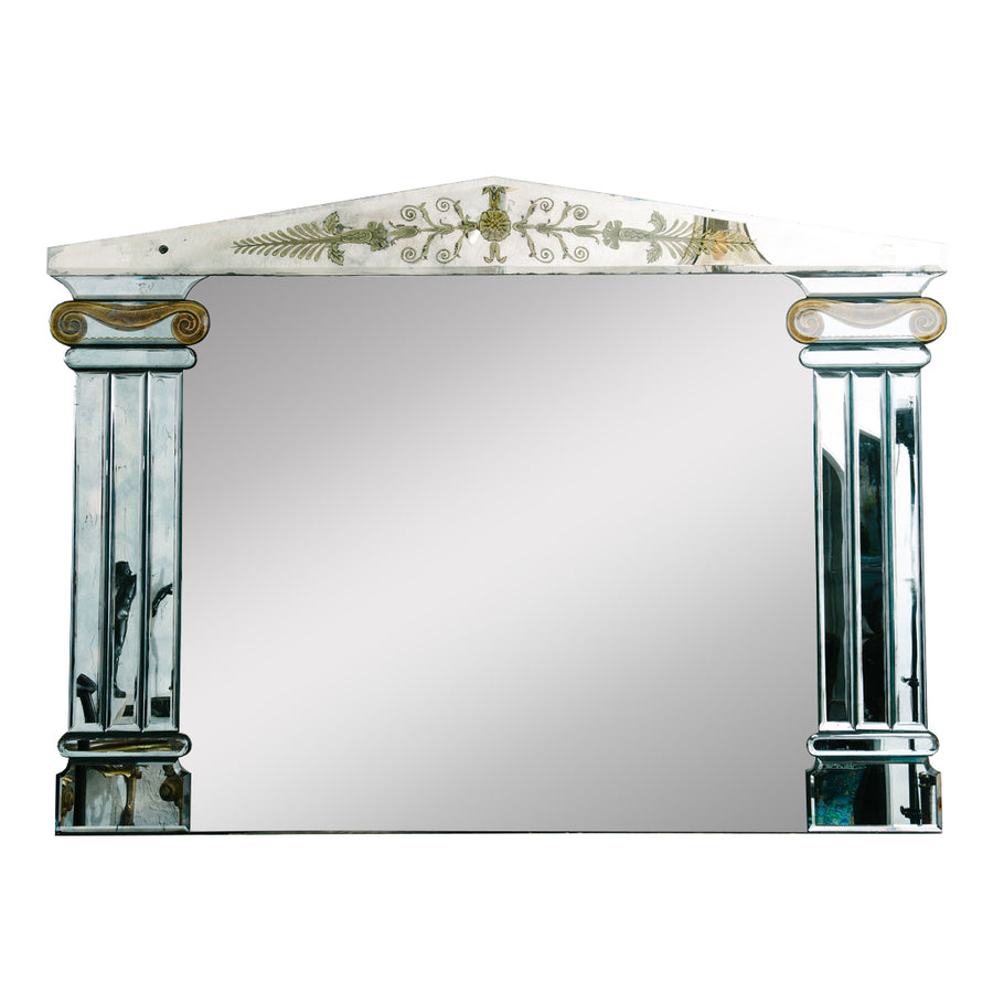 1940s FRENCH VERRE EGLOMISE MIRROR
