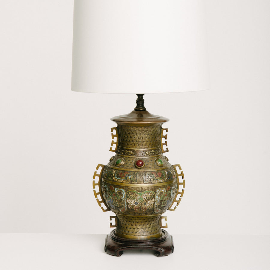 Chinese Brass Table Lamp With Semi-Precious Stones