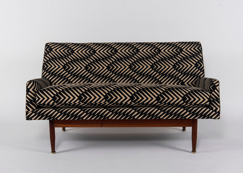 MID CENTURY LOVESEAT ON SETTEE ATTRIBUTED TO JENS RISOM