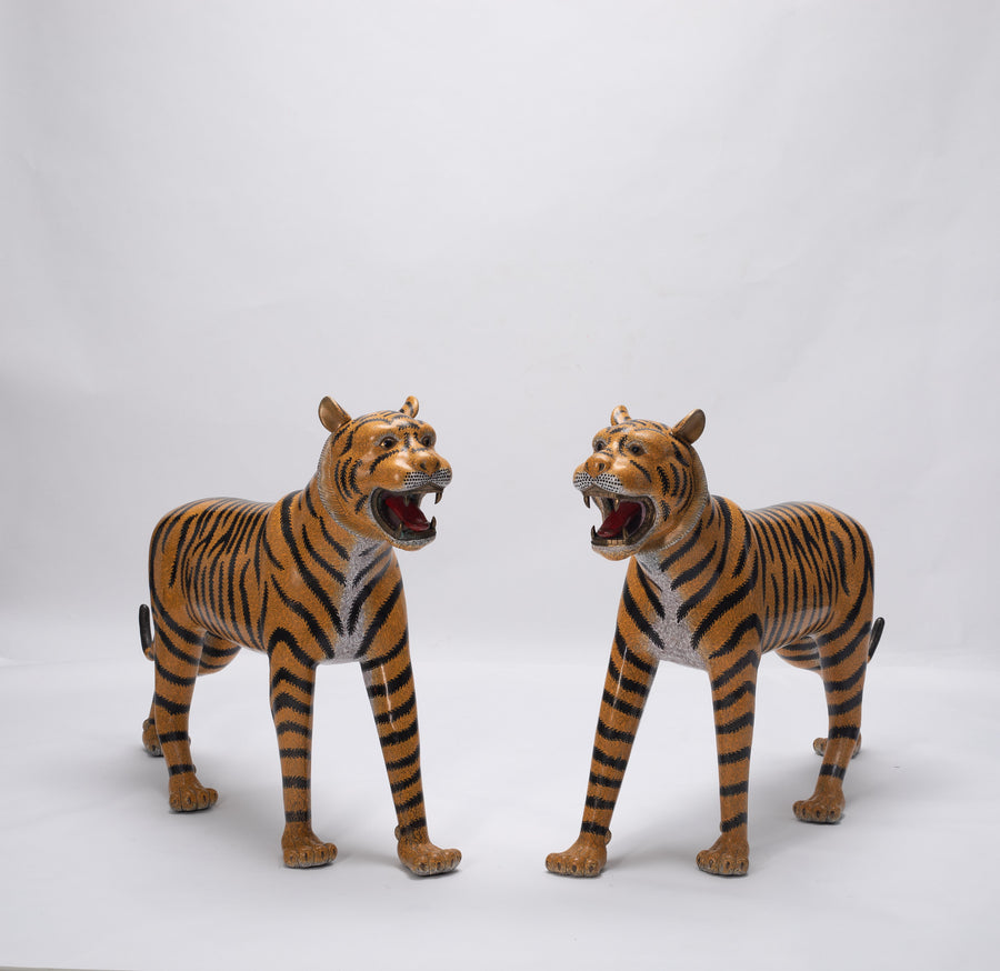 PAIR OF LIFE-SIZE CHINESE CLOISONNE TIGERS FROM THE BARON ESTATE