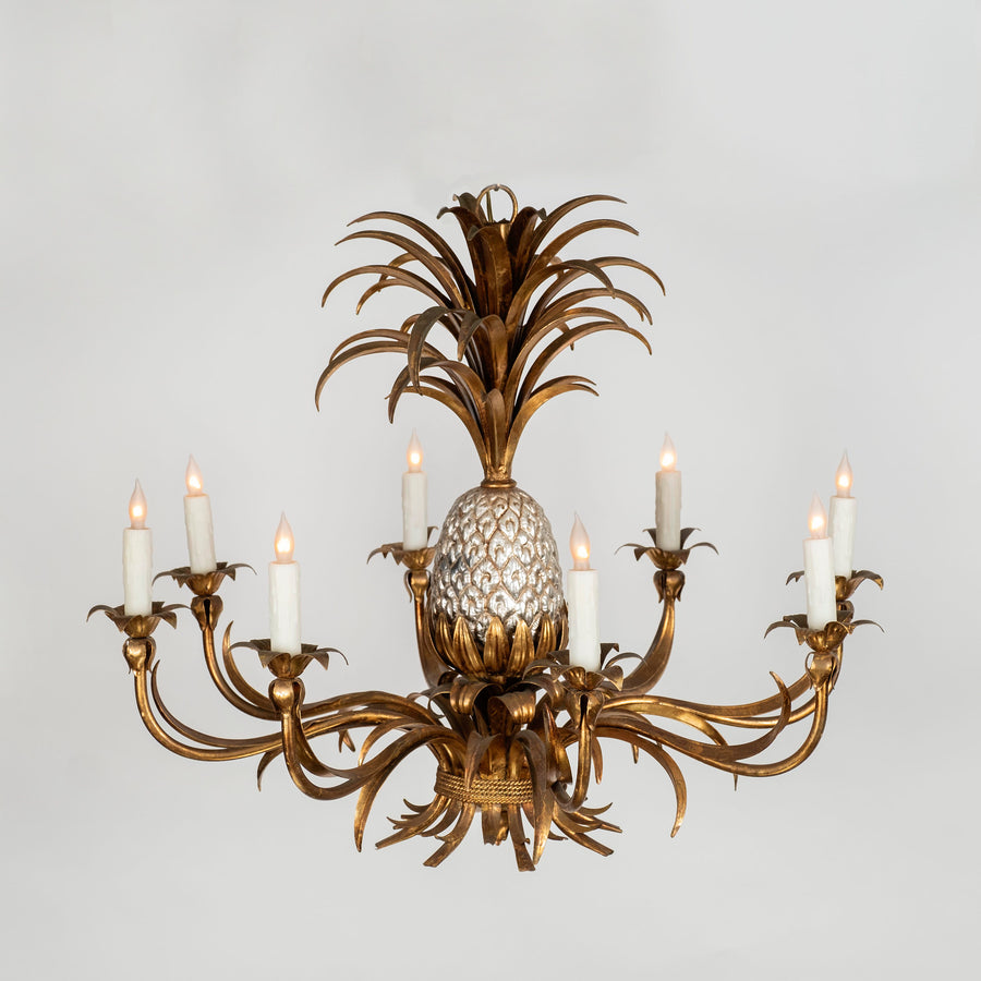 Vintage Pineapple Gilt Chandelier