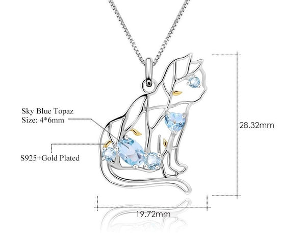 Sterling Silver Gold Plated Cat Shape Topaz Pendant for Women