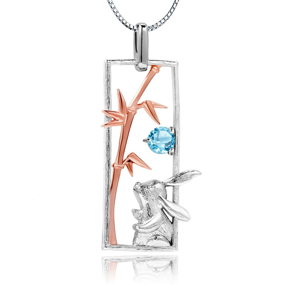 Sterling SIlver Rose Gold Plated Rabbit Topaz Pendant for Women