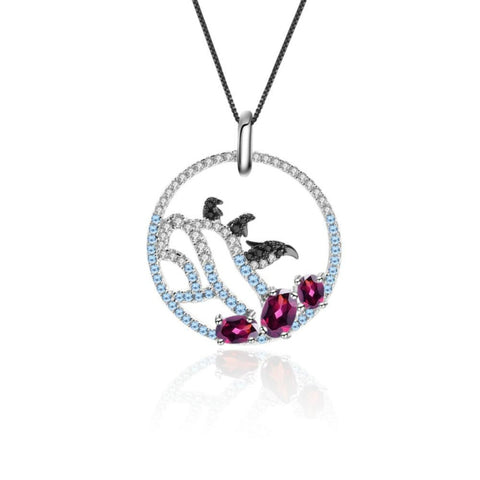 Sterling Silver Penguin Garnet Pendant for Women