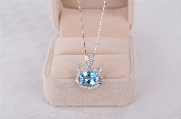 Sterling Silver 2 Ct Cat Shaped Topaz Pendant for Woman