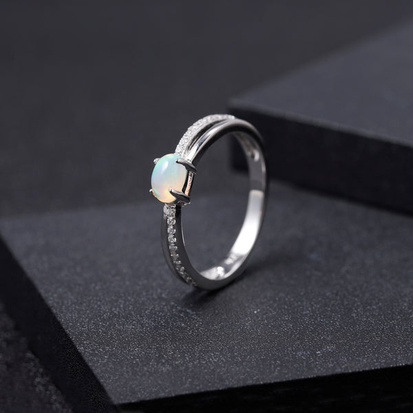 Sterling Silver Opal Classic Ring for Women