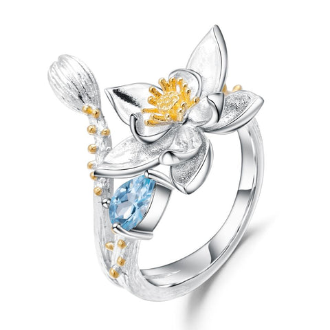 Sterling Silver Flower Topaz Adjustable Ring for Woman