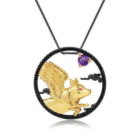 Sterling Silver Gold Plated Flying Pig Amethyst Pendant for Women