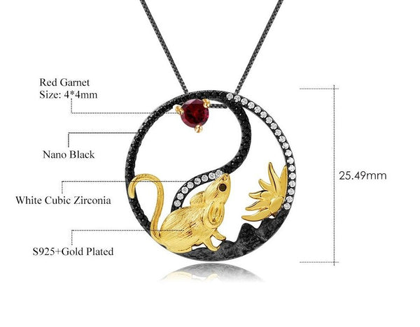 Sterling Silver Gold Plated Rat Garnet Pendent for Women