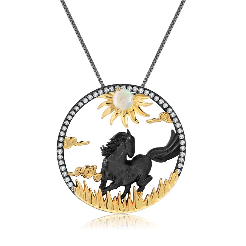 Sterling Silver Opal Horse Pendant for Women