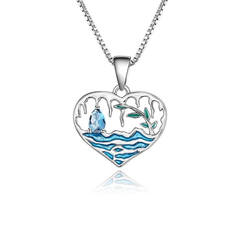 Sterling Silver Lake Willow Topaz Pendant for Woman