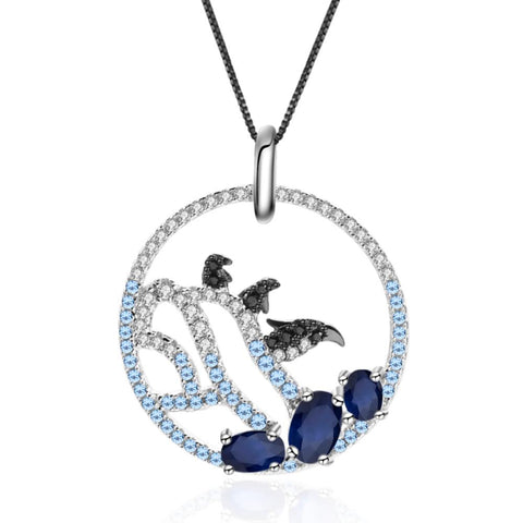 Sterling Silver Penguin Sapphire Pendant for Women