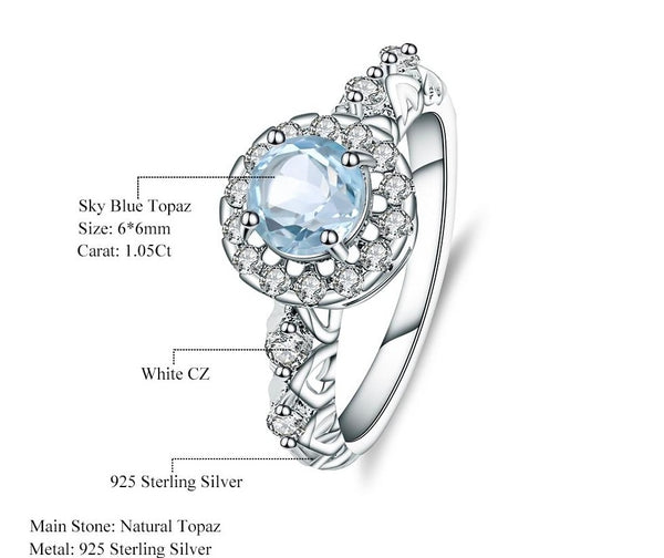 Sterling Silver 1.05 Ct Round Topaz Ring for Woman