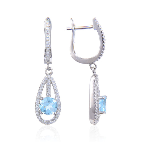Sterling Silver Dangle Topaz Earrings for Woman