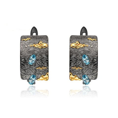 Sterling Silver Sea of Clouds Topaz Earrings for Woman