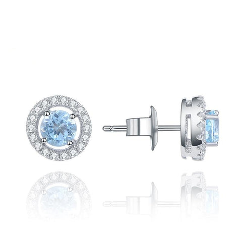 Sterling Silver Halo Topaz Earrings for Woman