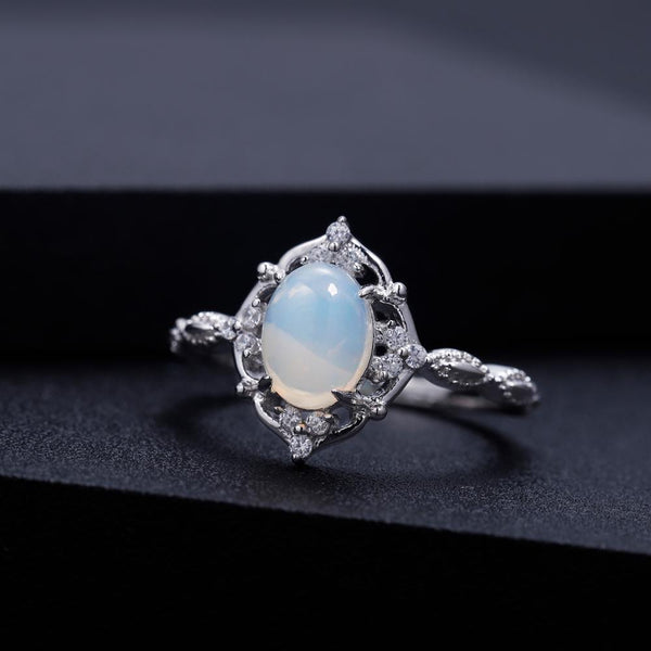 Sterling Silver Opal Vintage Ring for Women