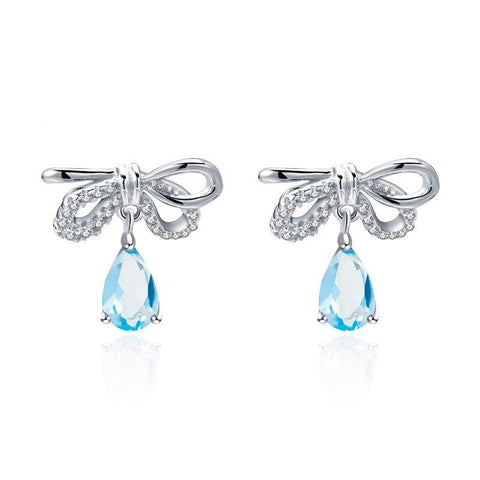 Sterling Silver Ribbon Topaz Earrings for Woman