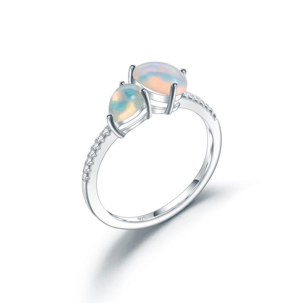 Sterling Silver 2 PCS Opal Ring for Women