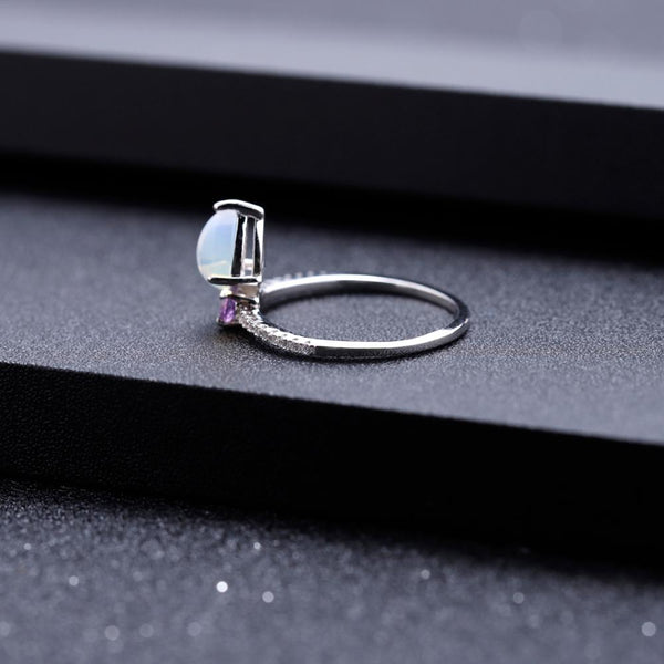 Sterling Silver Opal with Amethyst Ring for Women