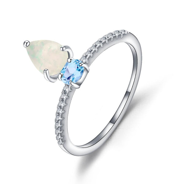 Sterling Silver Opal with Topaz Ring for Women