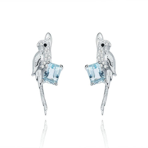Sterling Silver Bird Topaz Drop Earrings for woman