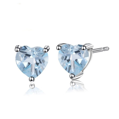 Sterling Silver 1.92 Ct Heart Topaz Earrings for Woman
