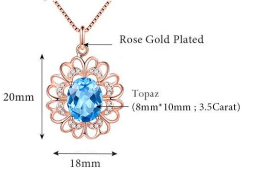 Sterling Silver Rose Gold Plated Oval Topaz Pendant for Woman