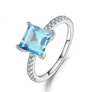 Sterling Silver 1.49 Ct Square Topaz Ring for Woman