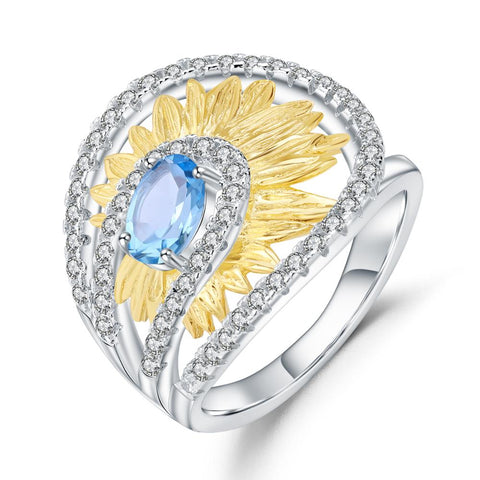 Sterling Silver 1.00 Ct Oval Sunflower Topaz Ring for Woman