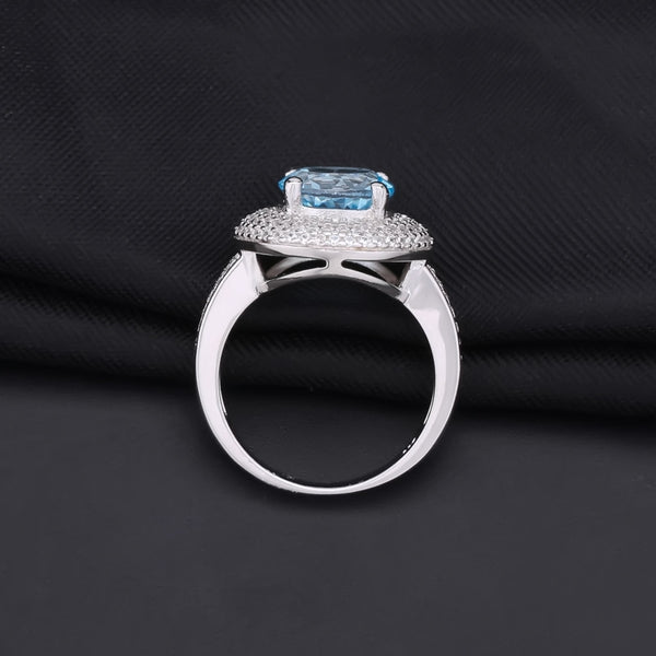 Sterling Silver 3.45 Ct Round Topaz Ring for Woman
